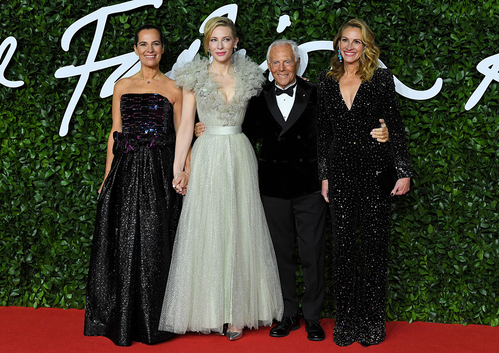 Cate Blanchett, Giorgio Armani and Julia RobertsThe Fashion Awards, Arrivals, Royal Albert Hall, London, UK - 02 Dec 2019