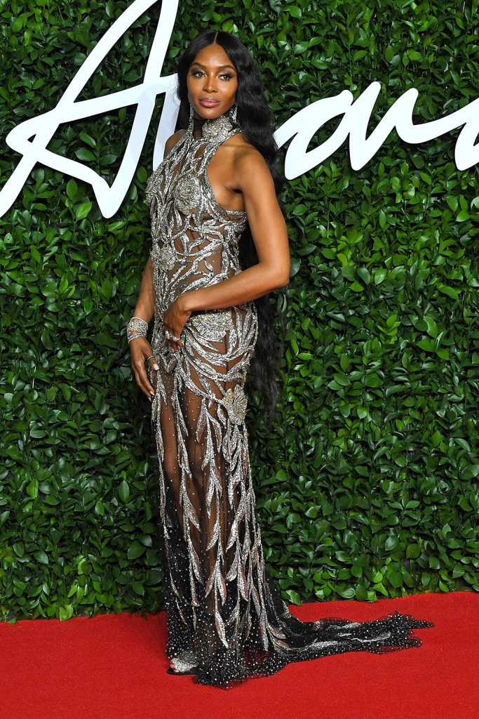 Naomi Campbell, silver dress, embellished gown, sparkly sandals, red carpet, The Fashion Awards, Arrivals, Royal Albert Hall, London, UK - 02 Dec 2019