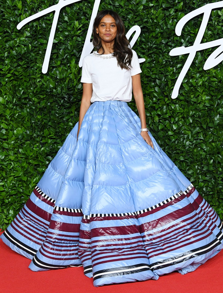 Liya Kebede, in Pierpaolo Piccioli x Moncler x Lemlem, puffer skirt, ball gown, white t shirt, The Fashion Awards, Arrivals, Royal Albert Hall, London, UK - 02 Dec 2019