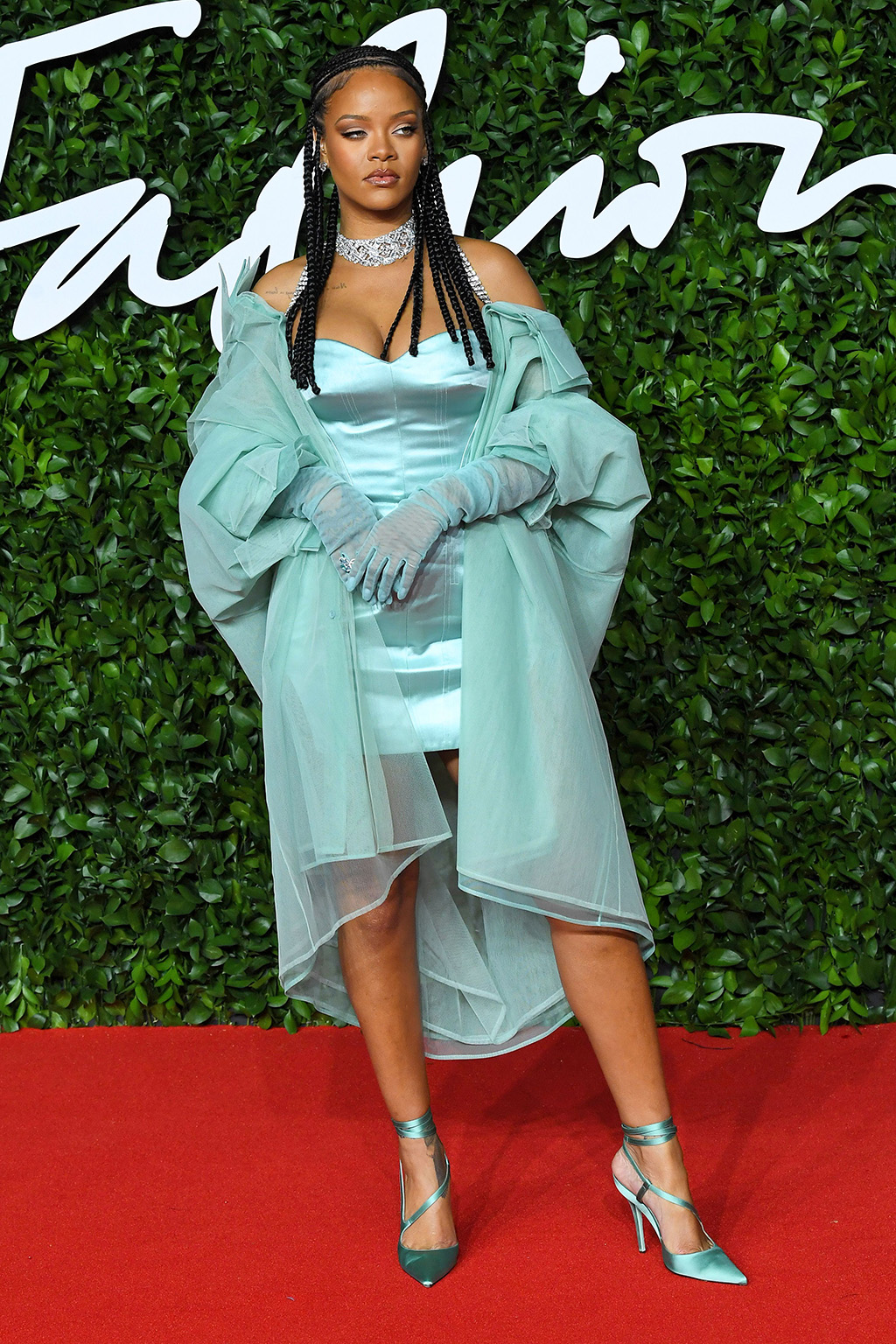 Rihanna, fenty, silk dress, wrap jacket, satin pumps, date night pumps, stilettos, red carpet, The Fashion Awards, Arrivals, Royal Albert Hall, London, UK - 02 Dec 2019