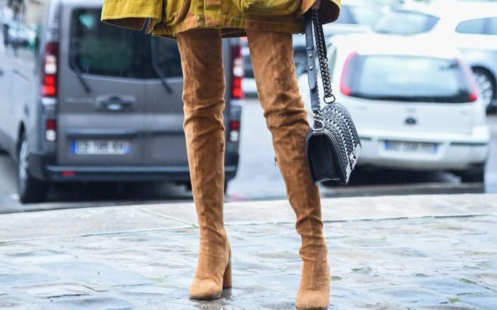 camel thigh-high boots