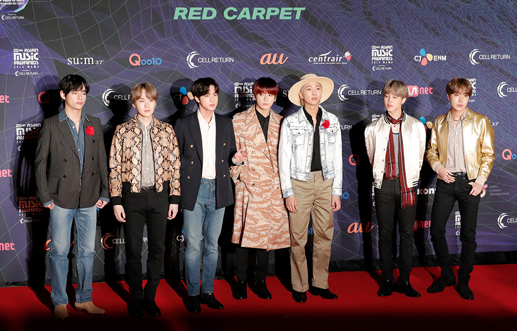 BTS, k-pop, Jungkook, Jimin, V, Suga, Jin, J-Hope , RM, Members of the band BTS receive the award for best music video for their song ' Boy With Luv' upon arrival at the Asian Music Awards in Nagoya, JapanAsian Music Awards, Nagoya, Japan - 04 Dec 2019Members of the band BTS pose for photographers upon arrival at the Asian Music Awards in Nagoya, JapanAsian Music Awards, Nagoya, Japan - 04 Dec 2019Members of the band BTS pose for photographers upon arrival at the Asian Music Awards in Nagoya, JapanAsian Music Awards, Nagoya, Japan - 04 Dec 2019