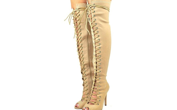 Cambridge Select Women's Peep Toe Corset boots