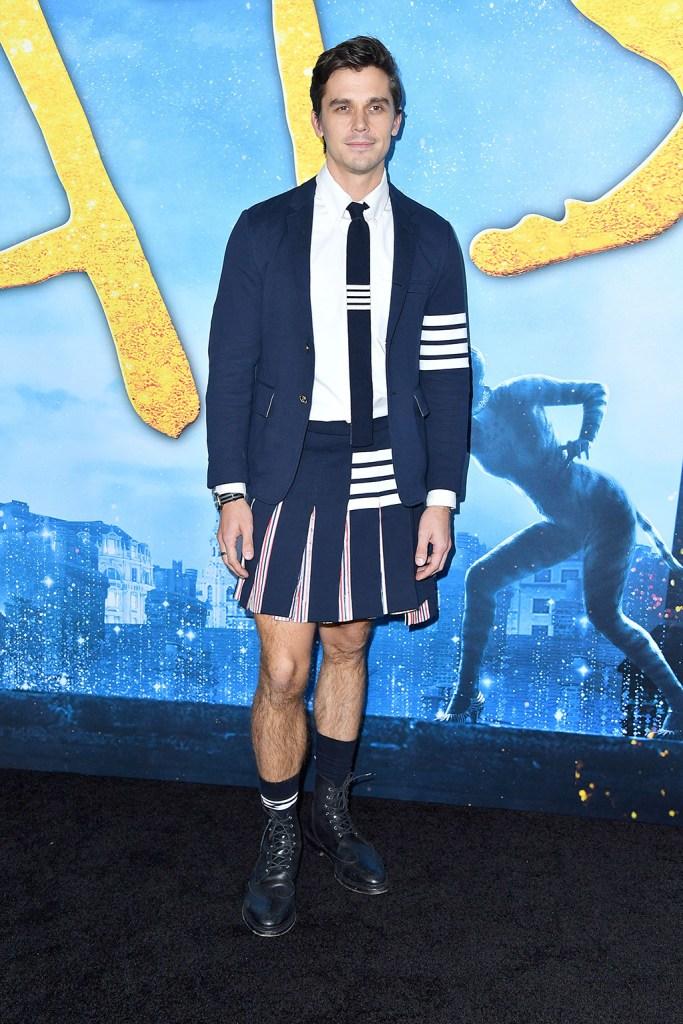 Antoni Porowski, thom browne, skirt, blazer, tie, combat boots, legs, 'Cats' film world premiere, Arrivals, Alice Tully Hall at Lincoln Center, New York, USA - 16 Dec 2019