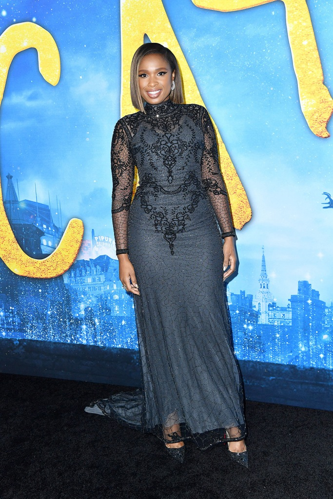 Jennifer Hudson, reem acra dress, glistening gown, christian louboutin shoes, sparkly pumps, 'Cats' film world premiere, Arrivals, Alice Tully Hall at Lincoln Center, New York, USA - 16 Dec 2019Wearing Reem Acra