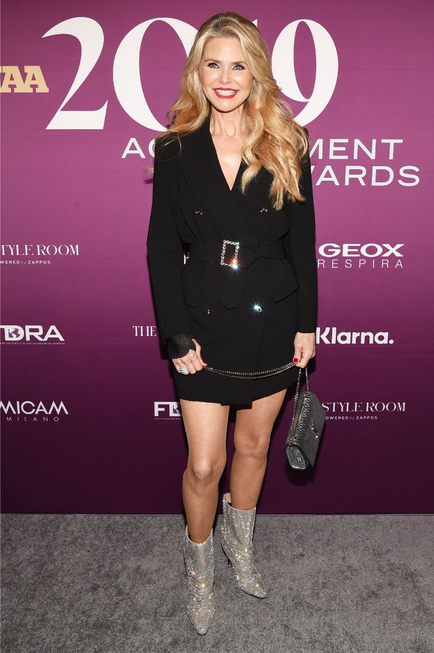 Christie Brinkley, off-white., silver boots, celebrity style, minidress, tom ford dress, celebrity style, fnaas, red carpet, fn achievement awards