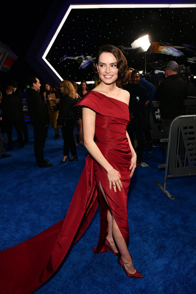 Daisy Ridley, red dress, oscar de la renta gown, red shoes, stilettos, jimmy choo pumps, 'Star Wars: The Rise of Skywalker' film premiere, Arrivals, TCL Chinese Theatre, Los Angeles, USA - 16 Dec 2019Wearing Oscar De La Renta