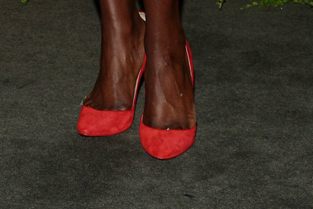 Danai Gurira, shoe detail, red pumps, floral dress, red pumps, sag nominees, 26th Annual Screen Actors Guild Awards Nomination Announcement, Pacific Design Center, Los Angeles, USA - 11 Dec 2019
