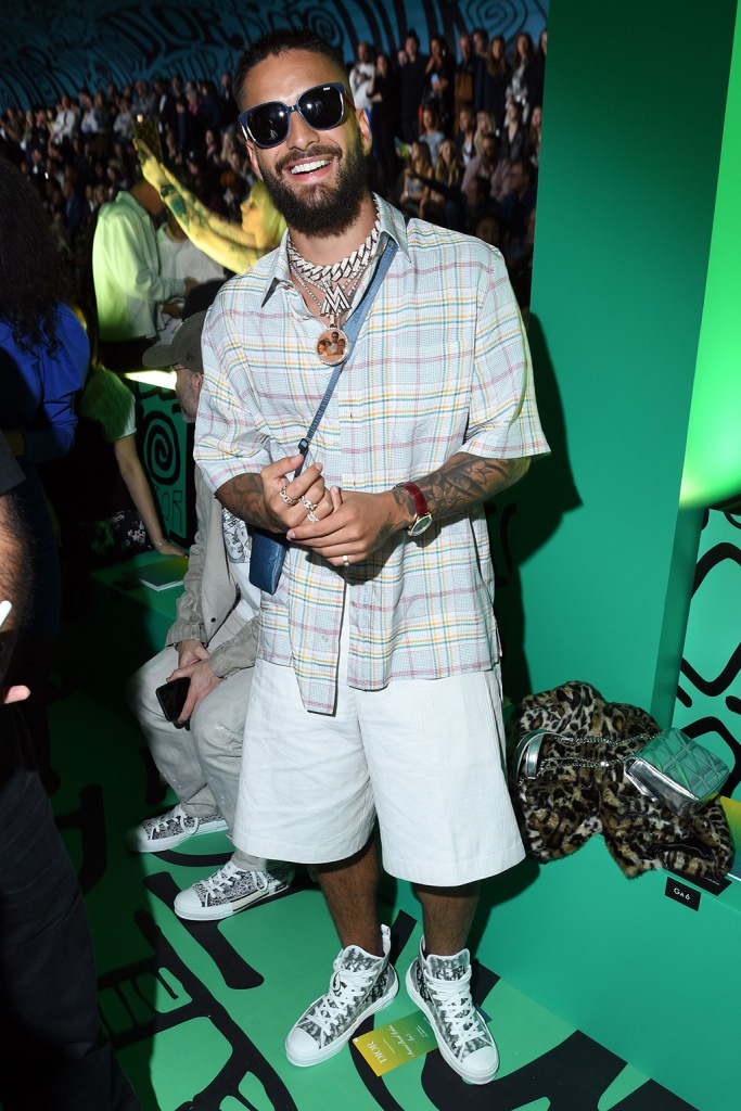 Maluma, front row, miami, celebrity style, plaid shirt, white short, dior mens sneakers, high-top sneakers, monogrammed shoes, in the front rowDior Men's Show, Front Row, Pre-Fall 2020, Miami, USA - 03 Dec 2019