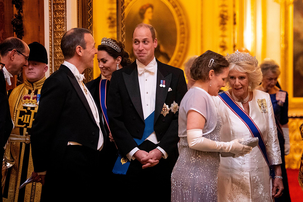 Catherine Duchess of Cambridge, Prince William, and Camilla Duchess of Cornwall at an evening reception for members of the Diplomatic Corps at Buckingham PalaceDiplomatic reception, Buckingham Palace, London, UK - 11 Dec 2019