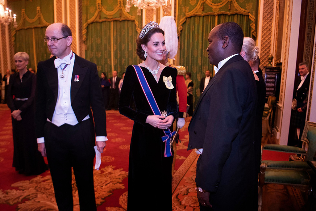 Catherine Duchess of Cambridge talks to guests at an evening reception for members of the Diplomatic Corps at Buckingham PalaceDiplomatic reception, Buckingham Palace, London, UK - 11 Dec 2019