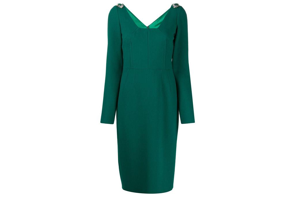 Dolce & Gabbana, green dress, embellished shoulders, midi dress