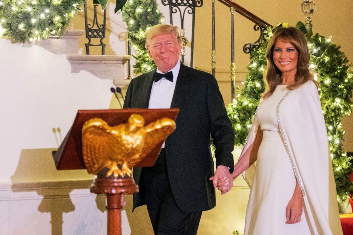 donald trump, melania trump, congressional ball, reem acra, white dress