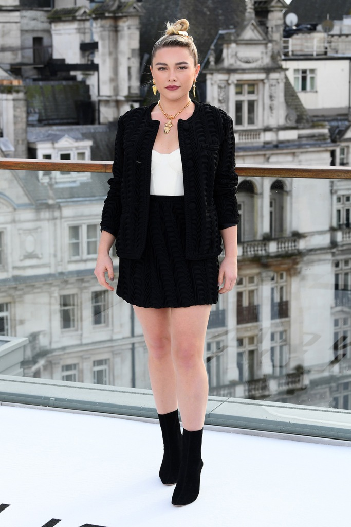 Florence Pugh, black miniskirt, black and white outfit, mid-calf boots, legs, 'Little Women' film photocall, Corinthia Hotel, London, UK - 16 Dec 2019Wearing Marco de Vincenzo Same Look Outfit as catwalk model *10418522s