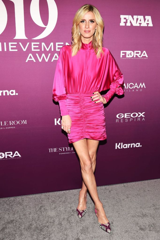 Nicky Hilton, 2019 FNAAs, fn achievement awards, hot pink, minidress, snakeskin pumps, slingback pumps, on the red carpet for the 2019 FNAAs, red carpet, FNAAs, footwear news achievement awards, fnaa