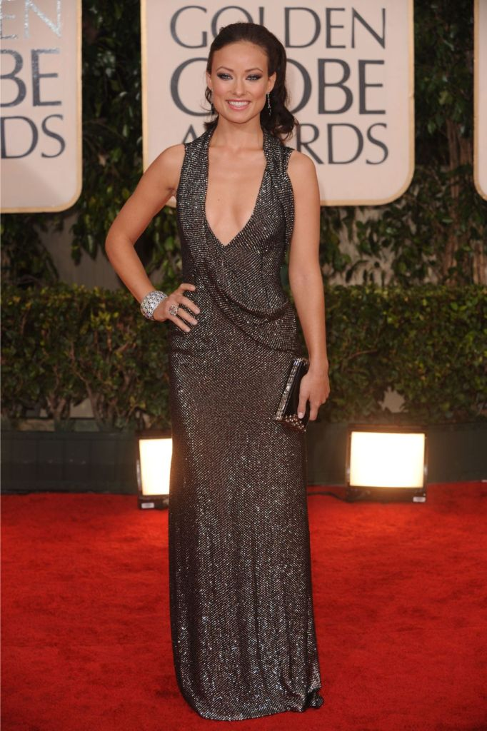 Olivia Wilde, gucci dress, jimmy choo shoes, celebrity style, red carpet, 2010 golden globes