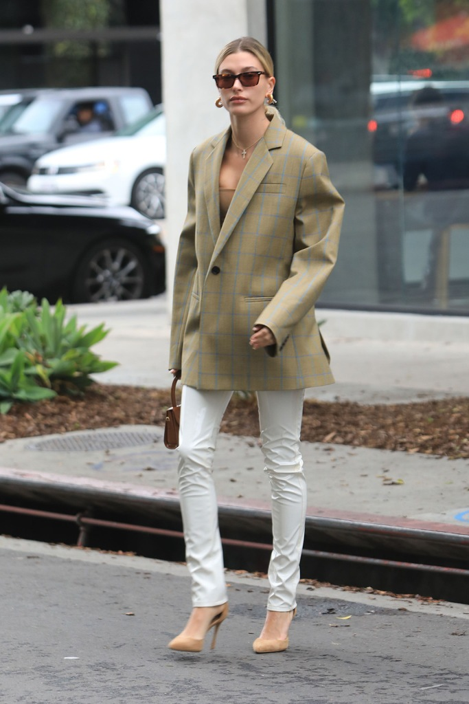 Hailey Baldwin, celebrity style, los angeles, blazer, corset top, cross necklace, jennifer fisher earrings, oliver peoples sunglasses, pointed toe pumps, stilettos, rag and bone pants, white vinyl trousers, street style, la, december 2019, Hailey Bieber out in West Hollywood. 07 Dec 2019 Pictured: Hailey Bieber. Photo credit: MEGA TheMegaAgency.com +1 888 505 6342 (Mega Agency TagID: MEGA563956_003.jpg) [Photo via Mega Agency]