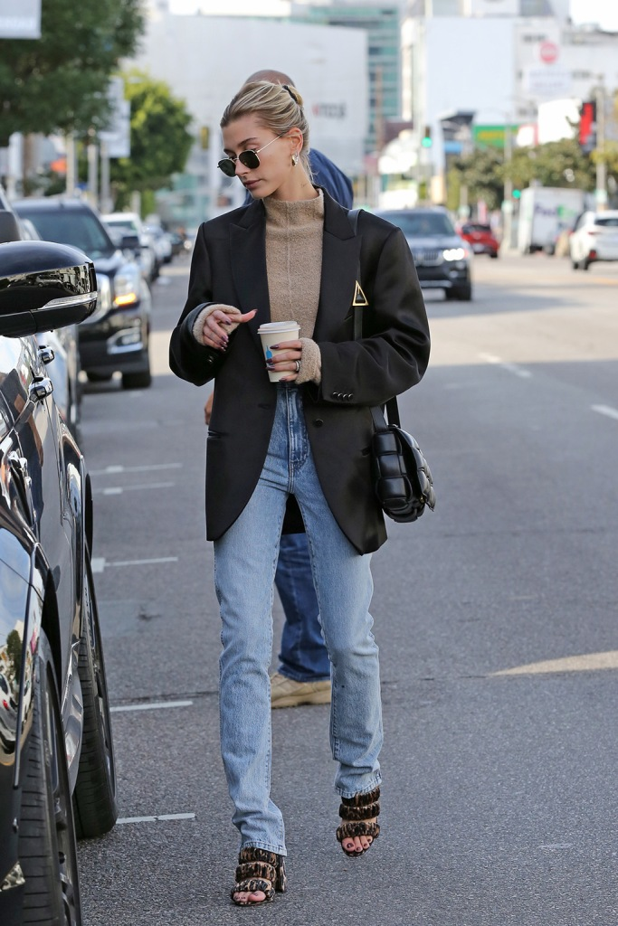 hailey baldwin, krewe sunglasses, jil sander shirt, off-white blazer, khaite jeans, chloe gosselin shoes, leopard print sandals, jennifer fisher hoops, blond hair, Hailey Bieber looks sophisticated while grabbing a coffee. 17 Dec 2019 Pictured: Hailey Bieber. Photo credit: Rachpoot/MEGA TheMegaAgency.com +1 888 505 6342 (Mega Agency TagID: MEGA570760_004.jpg) [Photo via Mega Agency]Hailey Bieber looks sophisticated while grabbing a coffee. 17 Dec 2019 Pictured: Hailey Bieber. Photo credit: Rachpoot/MEGA TheMegaAgency.com +1 888 505 6342 (Mega Agency TagID: MEGA570760_016.jpg) [Photo via Mega Agency]