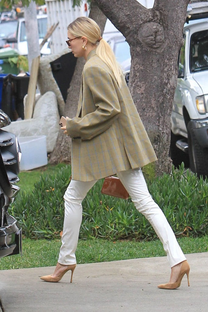 Hailey Baldwin, celebrity style, los angeles, blazer, corset top, cross necklace, jennifer fisher earrings, oliver peoples sunglasses, pointed toe pumps, stilettos, rag and bone pants, white vinyl trousers, street style, la, december 2019, Hailey Bieber out in West Hollywood. 07 Dec 2019 Pictured: Hailey Bieber.