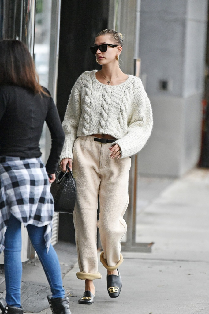 Hailey Baldwin, celine sunglasses, jennifer fisher hoop earrings, tiffany cross necklace, sweater, los angeles, balenciaga, square toe mules, celebrity style, sweats, sweater, Hailey Bieber heads to a CBD spa on a rainy day in Beverly Hills. 08 Dec 2019 Pictured: Hailey Bieber. Photo credit: PG/Rachpoot/MEGA TheMegaAgency.com +1 888 505 6342 (Mega Agency TagID: MEGA564468_010.jpg) [Photo via Mega Agency]