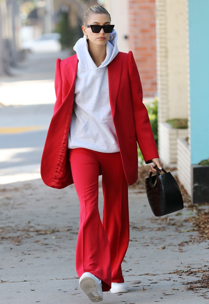 Hailey Baldwin, red blazer, staud bag, balenciaga pantsuit, red pants, nike air force 1, sneakers, white shoes, celebrity style, los angeles, december 2019 , Hailey BieberHailey Rhode Bieber out and about, Los Angeles, USA - 02 Dec 2019Wearing Balenciaga Same Outfit as catwalk model *10128914f, Bag By Staud
