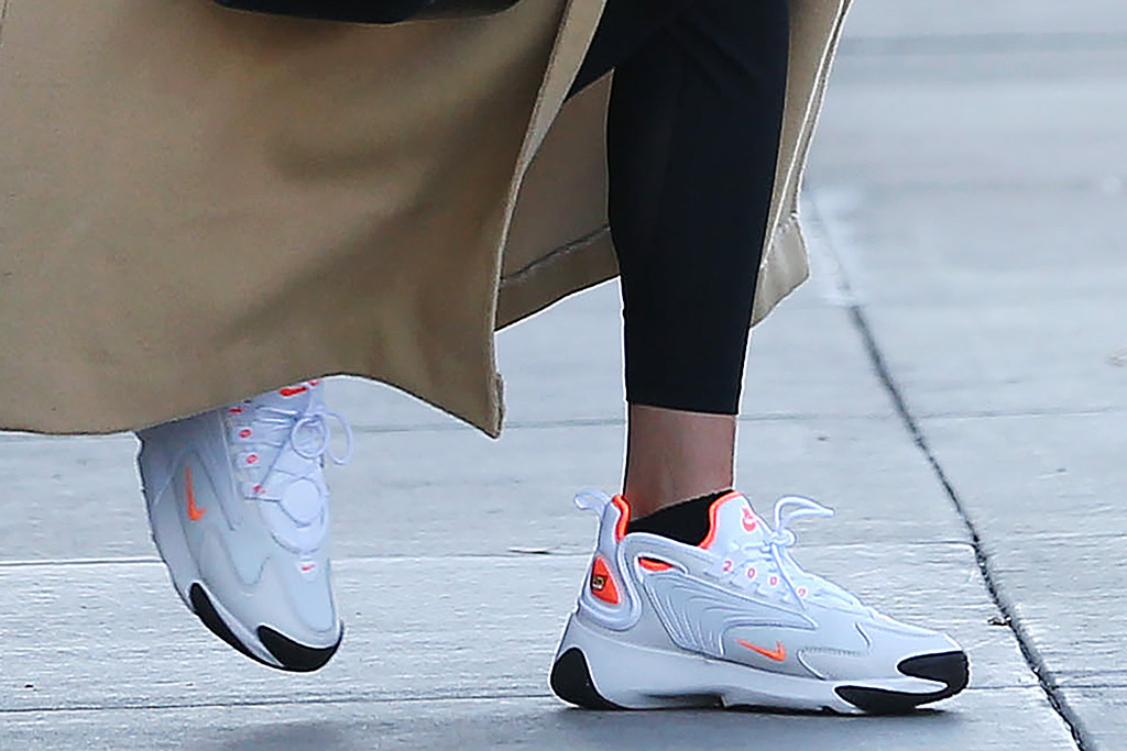 Hailey Baldwin, Nike Zoom Tk, nike sneakers, chunky sneakers, retro sneakers, celebrity style, street style, los angeles, december 2019