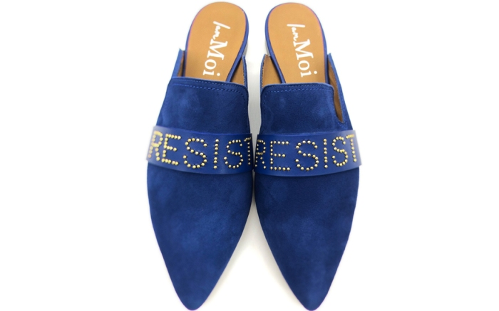 i am moi, slides, blue, leather, resist