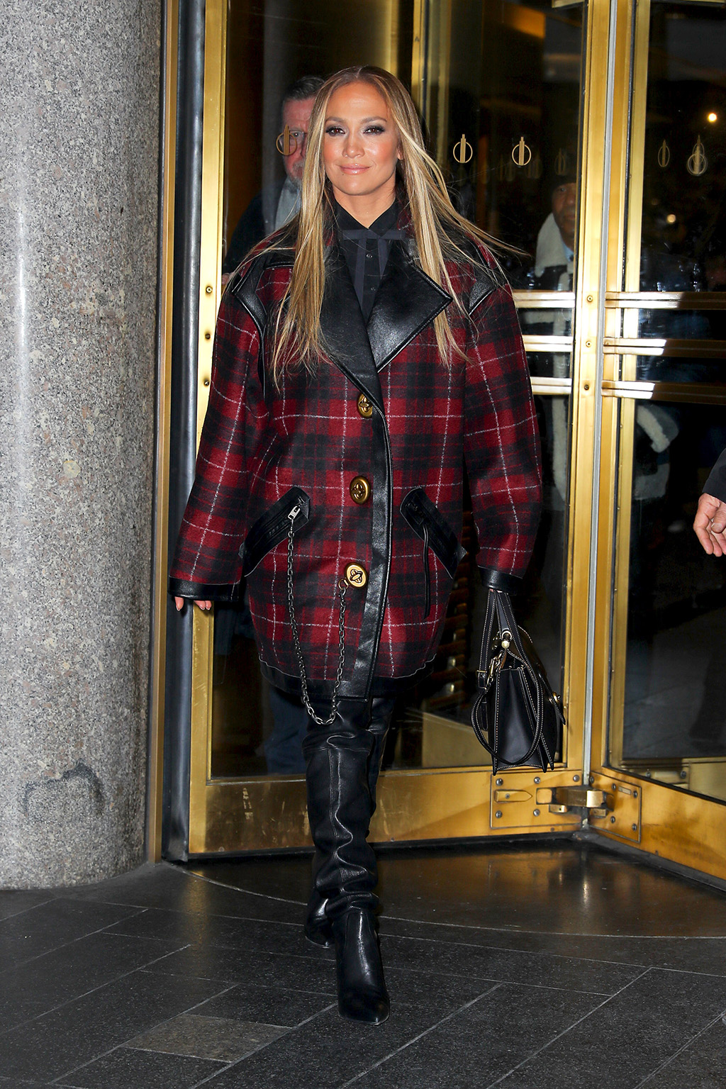 Jennifer Lopez, coach jacket, red tartan coat, stuart weitzman boots, celebrity style, thigh-high boots, nyc, street style, wears a stylish outfit while leaving the NBC studios in NYC, Jennifer wore a plaid jacket with leather high knee bootsPictured: Jennifer LopezRef: SPL5133248 031219 NON-EXCLUSIVEPicture by: Felipe Ramales / SplashNews.comSplash News and PicturesLos Angeles: 310-821-2666New York: 212-619-2666London: +44 (0)20 7644 7656Berlin: +49 175 3764 166photodesk@splashnews.comWorld Rights