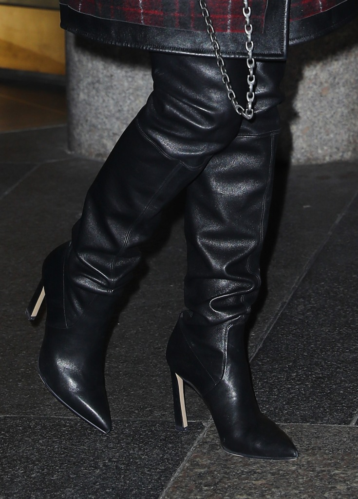 Jennifer Lopez , stuart weitzman, over-the-knee boots, thigh-high boots, celebrity style, new york city, street style, jlo, wears a stylish outfit while leaving the NBC studios in NYC, Jennifer wore a plaid jacket with leather high knee bootsPictured: Jennifer LopezRef: SPL5133248 031219 NON-EXCLUSIVEPicture by: Felipe Ramales / SplashNews.comSplash News and PicturesLos Angeles: 310-821-2666New York: 212-619-2666London: +44 (0)20 7644 7656Berlin: +49 175 3764 166photodesk@splashnews.comWorld Rights