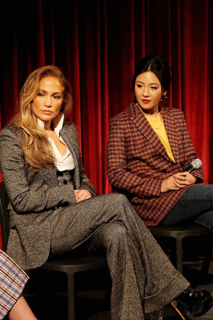 Jennifer Lopez, dolce and gabbana, pantsuit, alaia shoes, platform boots, celebrity style, nyc, constance wu
