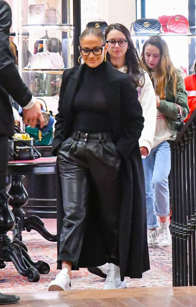 Jennifer Lopez, leather pants, all-black outfit, alexander mcqueen shoes, white sneakers, celebrity style, Jennifer Lopez and Alex Rodriguez out and about, Los Angeles, USA - 29 Nov 2019