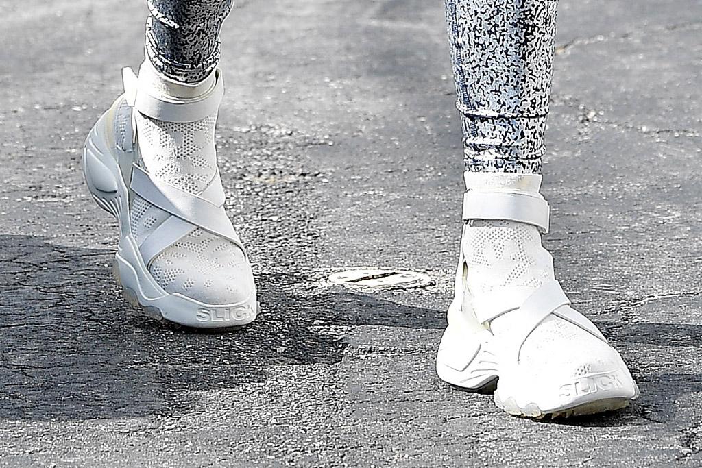 Jennifer Lopez, the kooples x slick woods, white sneakers, celebrity style, miami, florida