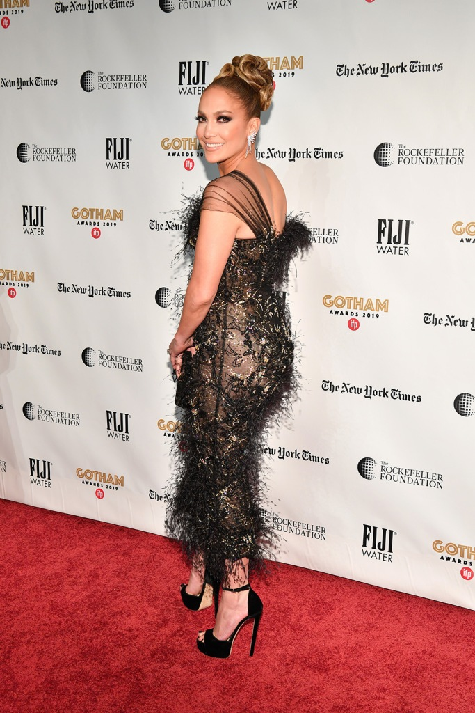 Jennifer Lopez , j-lo, ralph and russo dress, black dress, platform sandals, jimmy choo shoes, red carpet, alexander vauthier dress, fall 19 couture, feathered dress, jimmy choo max, platform sandals, celebrity style, Jennifer Lopez29th Annual IFP Gotham Awards, Arrivals, Cipriani Wall Street, New York, USA - 02 Dec 2019Wearing Ralph & Russo Same Outfit as Catwalk Model *10325132au