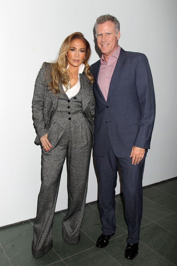 Jennifer Lopez, dolce & gabbana pantsuit, gray suit, platform boots, alaia shoes, ankle boots, will ferrell, celebrity style, nyc, hustlers