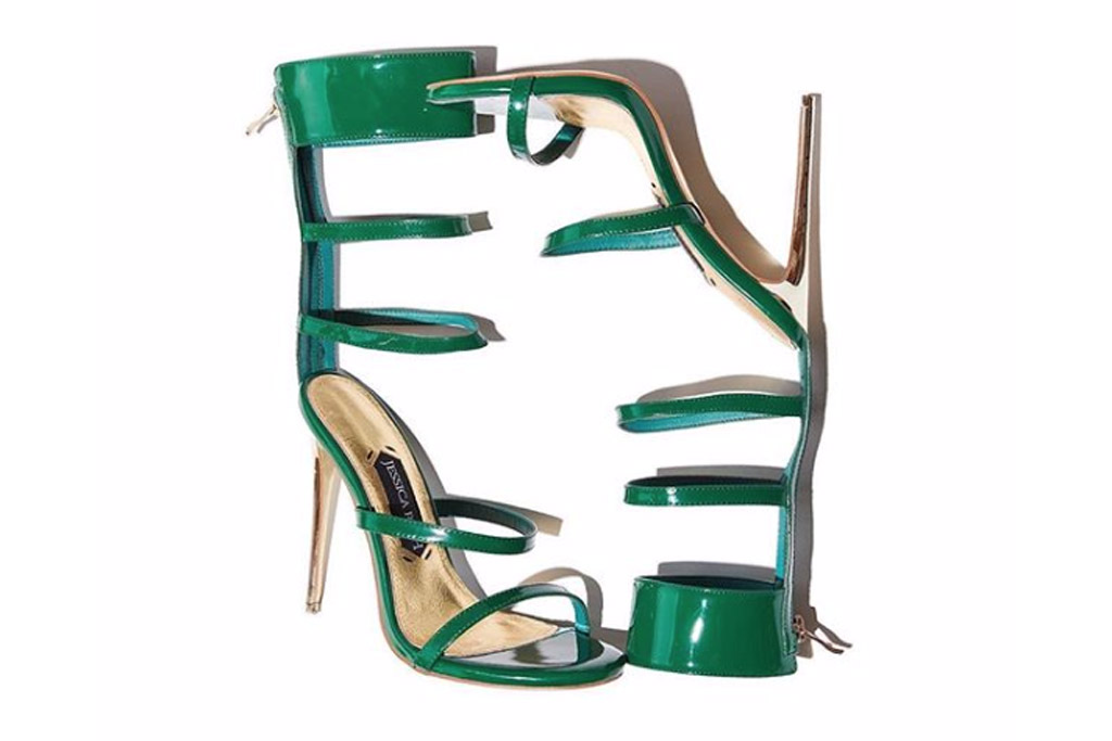 Jessica Rich, Goddess, green sandals, stilettos