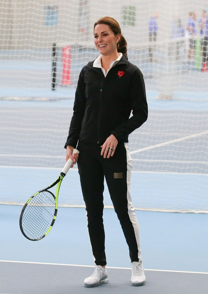 kate middleton, nike air vapormax, white sneakers, tennis, leggings, quarter zip, Catherine Duchess of Cambridge, takes part in a Tennis for Kids session during a visit at the Lawn Tennis Association (LTA) at the National Tennis CentreCatherine Duchess of Cambridge visits the Lawn Tennis Association, London, UK - 31 Oct 2017Duchess of Cambridge visited the LTA, the national governing body of tennis, where she was briefed on the organisations latest activities and objectives, and had the opportunity to watch a number of tennis demonstrations at the National Tennis Centre's on-court facilities.