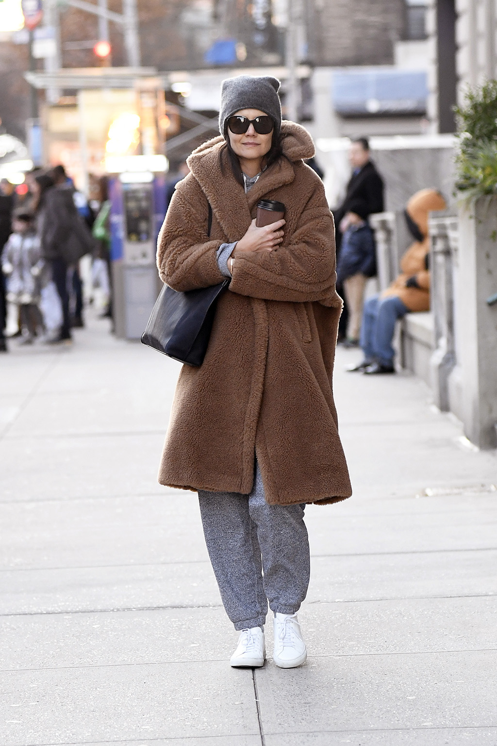 katie holmes, gray sweatsuit, hoodie, sweatpants, max mara coat, teddy coat, tote bag, sunglasses, beanie, Actress Katie Holmes steps out for coffee all bundled up on her Birthday, turning 41 today in a cold day New York City, NY, USA.Pictured: Katie HolmesRef: SPL5136499 181219 NON-EXCLUSIVEPicture by: Elder Ordonez / SplashNews.comSplash News and PicturesLos Angeles: 310-821-2666New York: 212-619-2666London: +44 (0)20 7644 7656Berlin: +49 175 3764 166photodesk@splashnews.comWorld Rights, No Portugal Rights