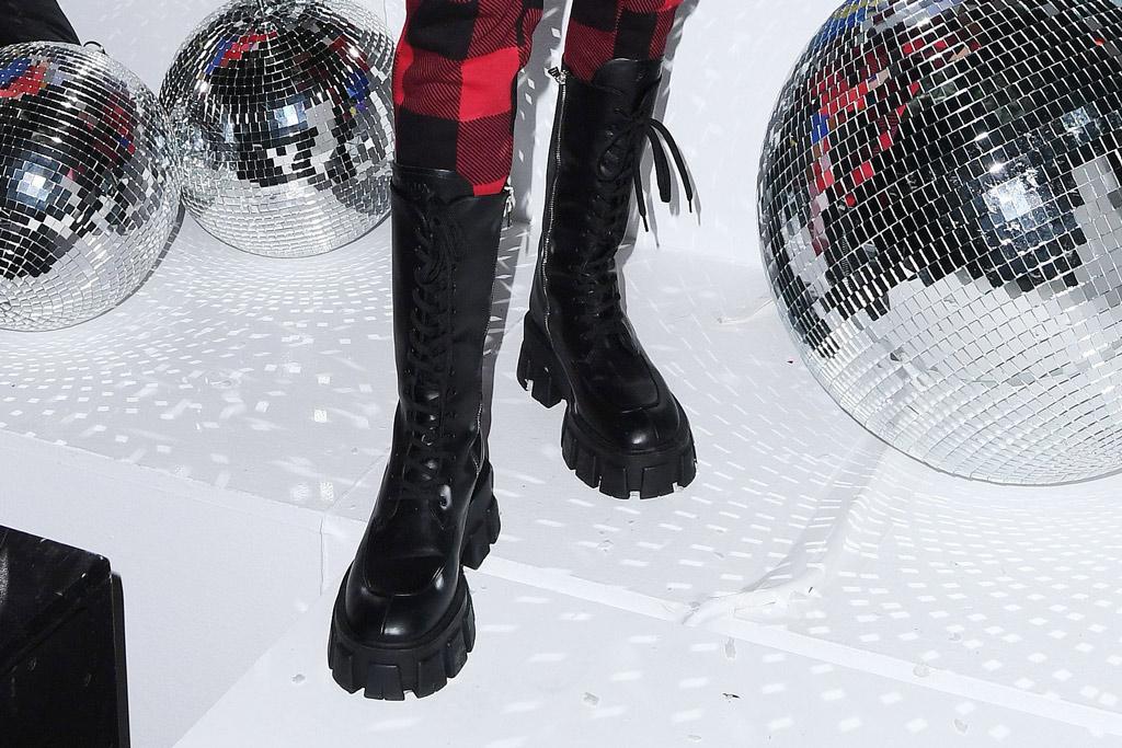 Kendall Jenner, prada boots, prada monolith boots, shoe detail, celebrity style, new york, calvin klein, pajama party, holidays, december 2019
