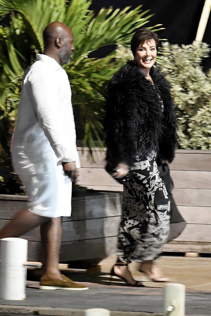 Kris Jenner , dior dress, dior by john galliano, fur coat, black sandals, st barths, celebrity style, corey gamble