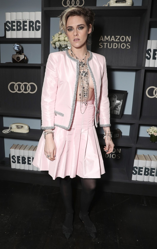 Kristen Stewart, chanel spring 2020, pink jacket, pink skirt, celebrity style, tights, black pumps, necklace, braless, shirtless,  at the  Amazon Studios Seberg Special Screening Presented by AudiAmazon Studios 'Seberg' Special Film Screening Presented by Audi, Los Angeles, USA - 10 Dec 2019Wearing Chanel Same Outfit as catwalk model *10431883boKristen Stewart at the Amazon Studios Seberg Special Screening Presented by AudiAmazon Studios 'Seberg' Special Film Screening Presented by Audi, Los Angeles, USA - 10 Dec 2019Wearing Chanel Same Outfit as catwalk model *10431883bo