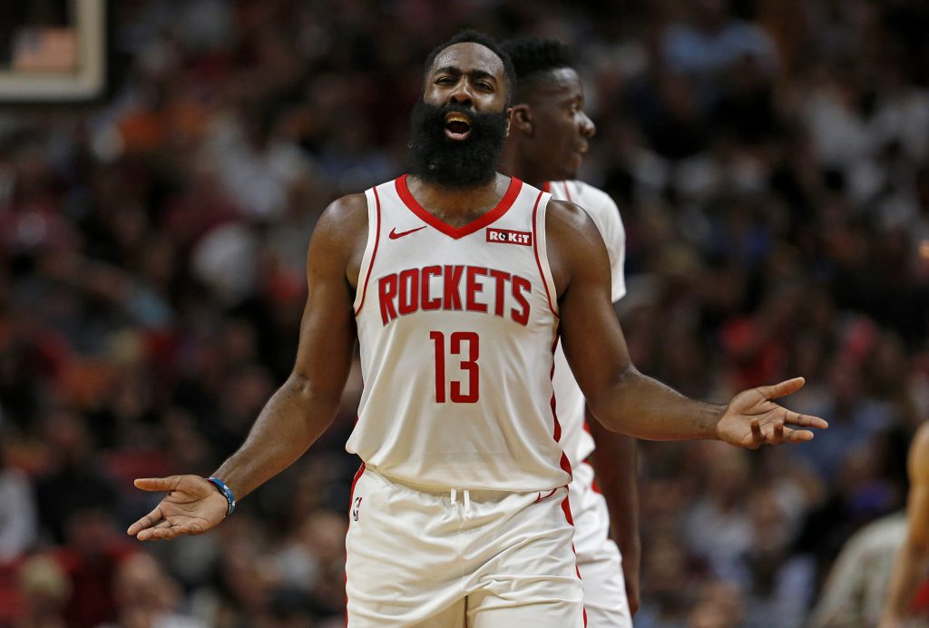 Houston Rockets guard James Harden (13) reacts after a play in the second quarter against the Miami Heat on Sunday, Nov. 3, 2019 at the AmericanAirlines Arena in Miami, Fla. (David Santiago/Miami Herald/TNS) Newscom/(Mega Agency TagID: krtphotoslive874329.jpg) [Photo via Mega Agency]