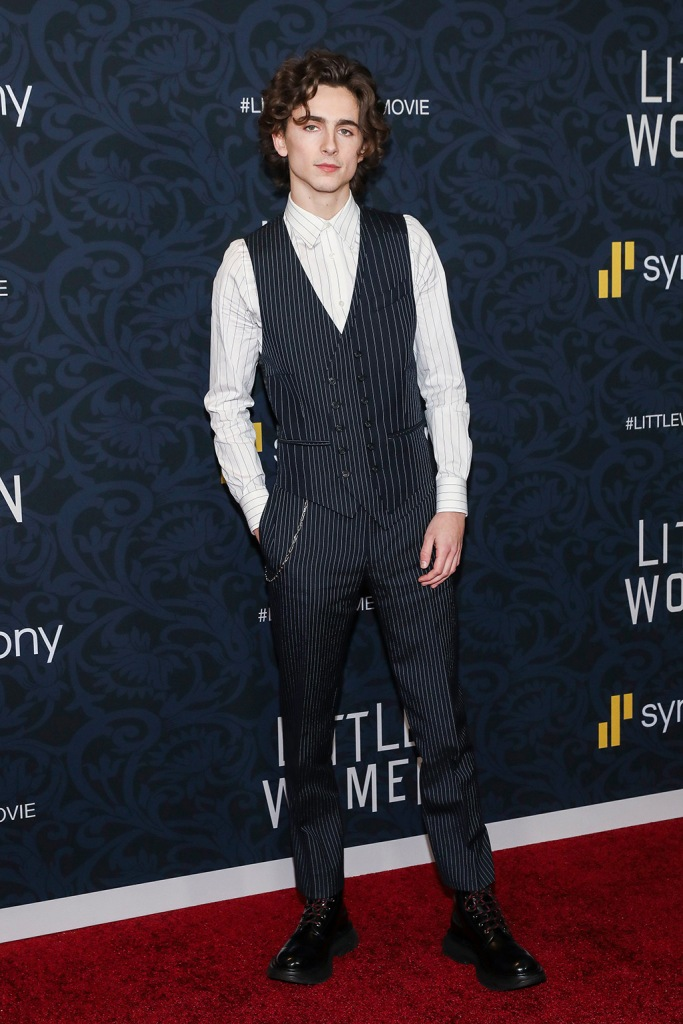 Timothee Chalamet, alexander mcqueen, vest, pinstripes, slim pants, pocket chain, black boots, Timothée Chalamet, 'Little Women' film premiere, Arrivals, The Museum of Modern Art, New York, USA - 07 Dec 2019