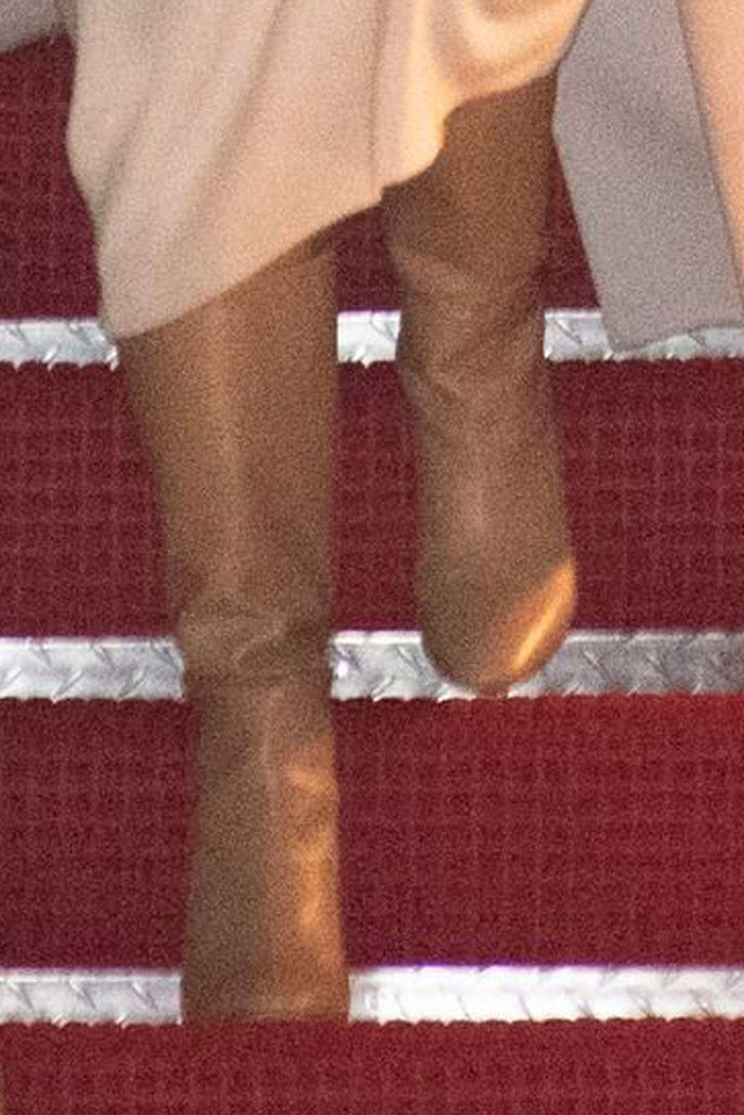 Melania Trump, herve pierre dress, max mara coat, slouch boots, tan boots, celebrity style, andrews air force base, maryland, air force one, first lady