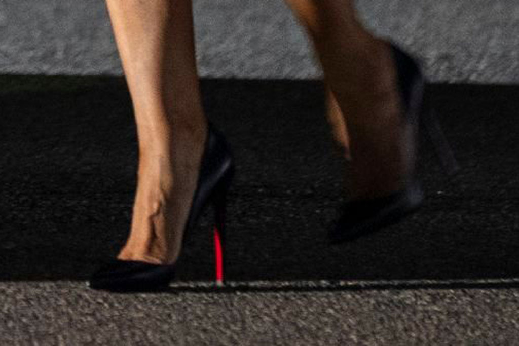 Melania Trump, christian louboutin, louboutin so kate pumps, stilettos, celebrity style, shoe detail, london, uk, december 2019