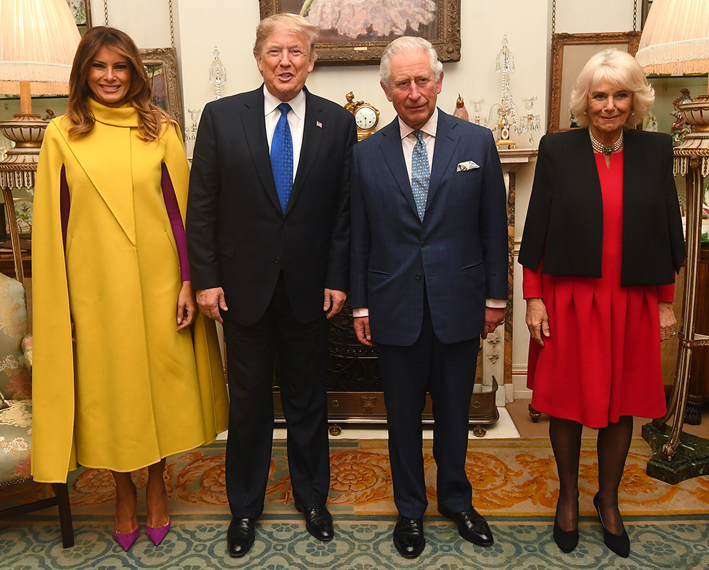 melania trump, yellow cape dress, celebrity style, purple pumps, stiletto, celebrity style, camilla parker bowles, donald trump, prince charles, The Prince of Wales and the Duchess of Cornwall meets US President Donald Trump and Wife Melania at Clarence House, London, UK, on the 3rd December 2019. 03 Dec 2019 Pictured: The Prince of Wales and the Duchess of Cornwall meets US President Donald Trump and Wife Melania at Clarence House, London, UK, on the 3rd December 2019. Photo credit: James Whatling / MEGA TheMegaAgency.com +1 888 505 6342 (Mega Agency TagID: MEGA560634_004.jpg) [Photo via Mega Agency]