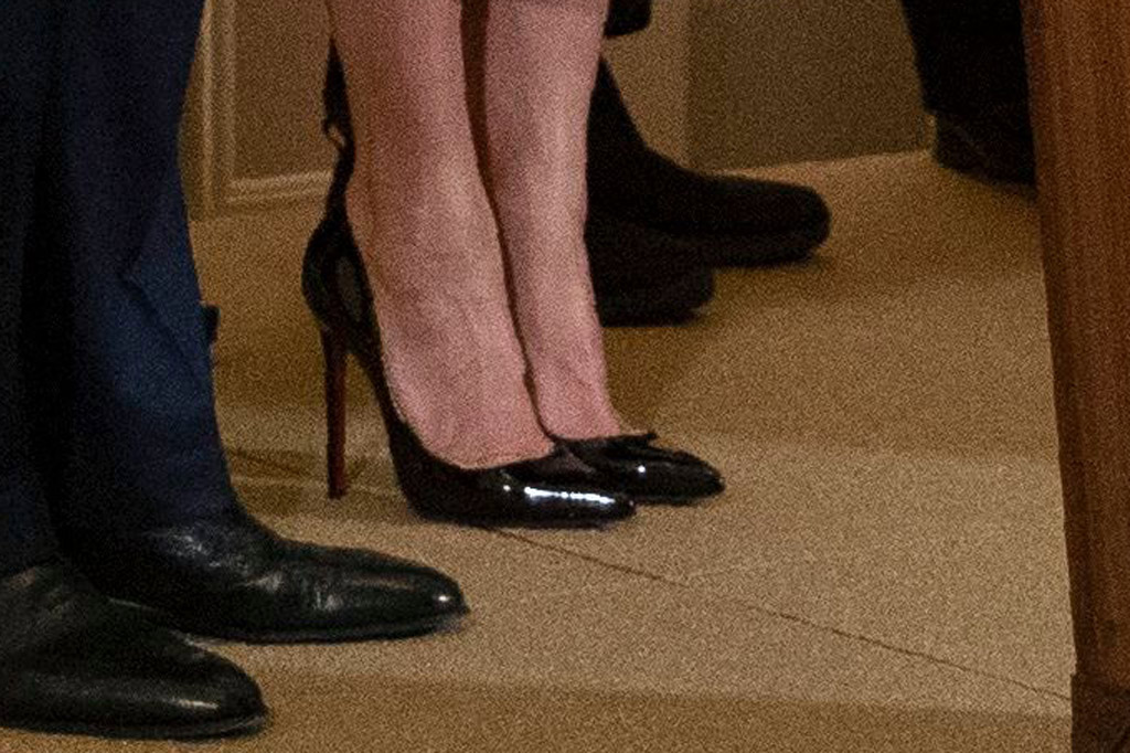 Melania Trump, shoe detail, stilettos, christian louboutin so kate pumps, stilettos, celebrity style, cape dress, givenchy dress, white house, hanukkah reception, december 11