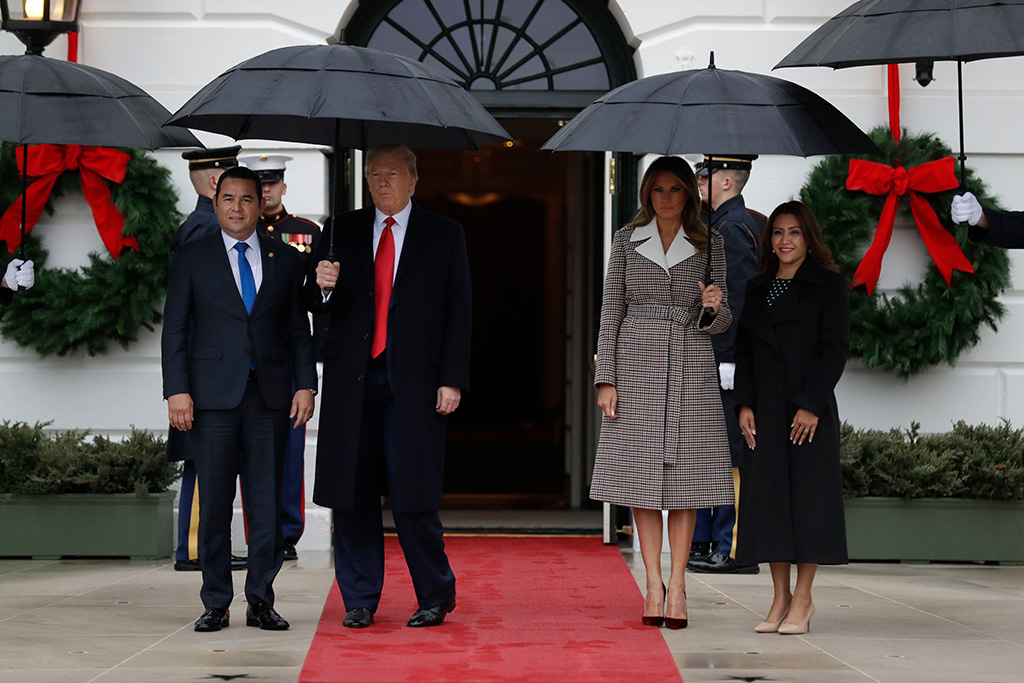 Donald Trump Melania Trump Jimmy Morales Patricia Marroquin de Morales. President Donald Trump and first lady Melania Trump welcome Guatemalan President Jimmy Morales and his wife Patricia Marroquin de Morales to the White House, in WashingtonTrump, Washington, USA - 17 Dec 2019
