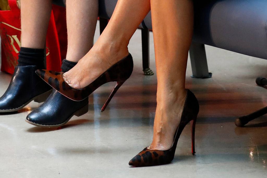 melania trump, leopard print shoes, stilettos, christian louboutin, so kate pumps, shoe detail, flotus, childrens national hospital, washington, dc, december 2019