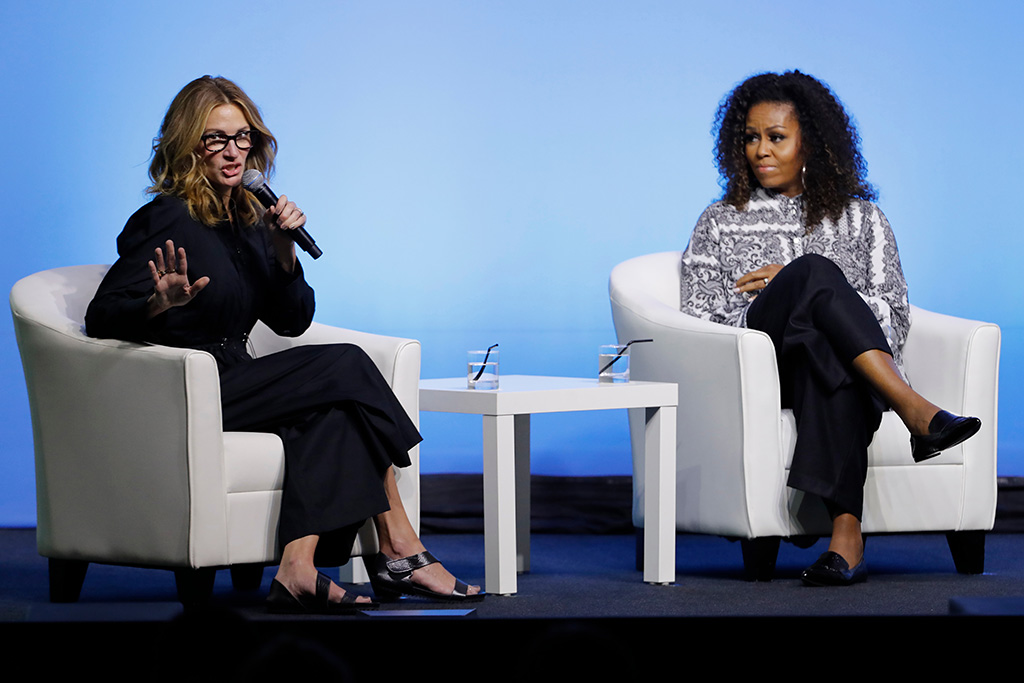 Michelle Obama, Julia Roberts. Former U.S. fist lady Michelle Obama, right, and actress Julia Roberts speak during an event for Obama Foundation in Kuala Lumpur, Malaysia, . Obama and actress Julia Roberts attend inaugural Gathering of Rising Leaders in the Asia Pacific organized by the Obama FoundationObama, Kuala Lumpur, Malaysia - 12 Dec 2019