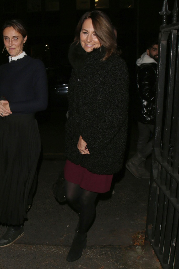 Carole Middleton, black coat, teddy jacket, red dress, burgundy dress, black tights, black booties, ankle boots, The Henry van Straubenzee Memorial Fund Christmas Carol Service, St Lukes Church, London, UK - 04 Dec 2019